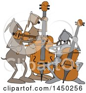 Clipart Graphic Of A Cartoon String Trio Dog Orchestra Playing A Cello Violin And Bass Royalty Free Vector Illustration