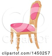 Clipart Graphic Of A Wood And Pink Cushioned Palace Chair Royalty Free Vector Illustration