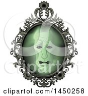 Clipart Graphic Of A Face In An Ornate Magic Mirror Royalty Free Vector Illustration by Pushkin