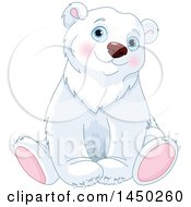 Clipart Graphic Of A Cute Adorable Sitting Polar Bear Royalty Free Vector Illustration