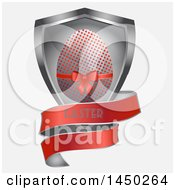 3d Silver And Red Polka Dot Easter Egg Shield With A Banner On Off White