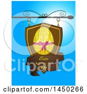 Clipart Graphic Of A Wooden Store Shingle Sign With An Easter Egg And Text Banner Against Blue Sky Royalty Free Vector Illustration