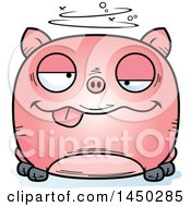 Cartoon Drunk Pig Character Mascot