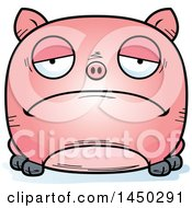 Cartoon Sad Pig Character Mascot