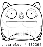 Cartoon Black And White Lineart Bored Pig Character Mascot