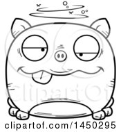 Cartoon Black And White Lineart Drunk Pig Character Mascot