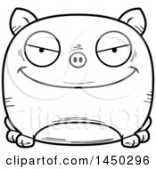 Cartoon Black And White Lineart Evil Pig Character Mascot