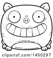 Cartoon Black And White Lineart Grinning Pig Character Mascot