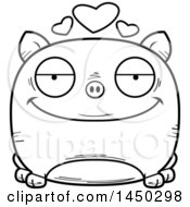 Cartoon Black And White Lineart Loving Pig Character Mascot