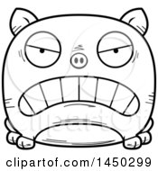 Cartoon Black And White Lineart Mad Pig Character Mascot