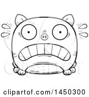 Cartoon Black And White Lineart Scared Pig Character Mascot