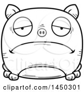 Cartoon Black And White Lineart Sad Pig Character Mascot