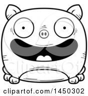 Cartoon Black And White Lineart Happy Pig Character Mascot