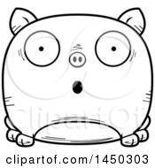 Cartoon Black And White Lineart Surprised Pig Character Mascot