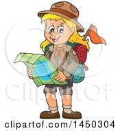 Clipart Graphic Of A Hiking Scout Girl Reading A Map Royalty Free Vector Illustration
