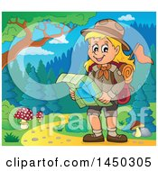 Clipart Graphic Of A Hiking Scout Girl Reading A Map On A Trail Royalty Free Vector Illustration
