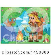 Poster, Art Print Of Hiking Scout Girl Reading A Map By A Campfire