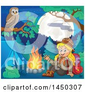 Clipart Graphic Of A Camping Scout Girl Waving By A Camp Fire With An Owl Perched On A Branch Royalty Free Vector Illustration