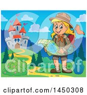 Clipart Graphic Of A Hiking Scout Girl Reading A Map Near A Castle Royalty Free Vector Illustration