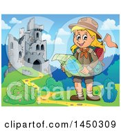 Clipart Graphic Of A Hiking Scout Girl Reading A Map Near Castle Ruins Royalty Free Vector Illustration