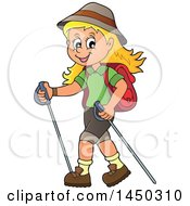 Clipart Graphic Of A Happy Girl Hiking With Poles Royalty Free Vector Illustration by visekart