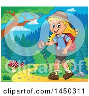 Clipart Graphic Of A Happy Girl Hiking On A Path With Poles Royalty Free Vector Illustration
