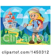 Clipart Graphic Of A Happy Girl Hiking Near A Castle With Poles Royalty Free Vector Illustration