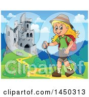 Clipart Graphic Of A Happy Girl Hiking Near Castle Ruins With Poles Royalty Free Vector Illustration