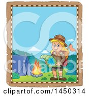 Clipart Graphic Of A Parchment Border Of A Hiking Scout Girl Reading A Map By A Campfire Royalty Free Vector Illustration