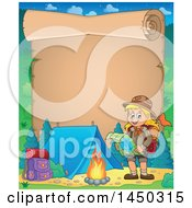 Clipart Graphic Of A Parchment Scroll Border Of A Hiking Scout Girl Reading A Map By A Campfire Royalty Free Vector Illustration