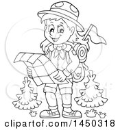 Clipart Graphic Of A Black And White Lineart Hiking Scout Girl Reading A Map Royalty Free Vector Illustration