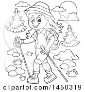 Clipart Graphic Of A Black And White Lineart Happy Girl Hiking With Poles Royalty Free Vector Illustration