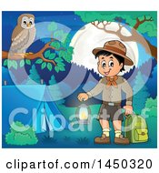 Clipart Graphic Of A Scout Boy Holding A Lantern And Backpack At A Camping Site Royalty Free Vector Illustration