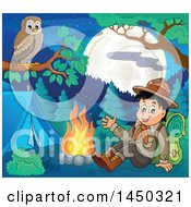 Clipart Graphic Of A Happy Hiking Scout Boy Sitting And Waving By A Camp Fire With A Perched Owl Royalty Free Vector Illustration