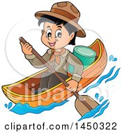 Happy Scout Boy Rowing A Boat