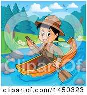 Clipart Graphic Of A Happy Scout Boy Rowing A Boat Down A River Royalty Free Vector Illustration