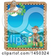 Clipart Graphic Of A Parchment Border Of A Scout Boy Holding A Lantern And Backpack At A Camping Site Royalty Free Vector Illustration
