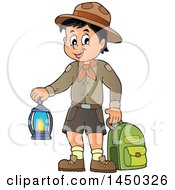 Scout Boy Holding A Lantern And Backpack