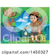 Clipart Graphic Of A Scout Boy Holding A Lantern And Backpack At A Camping Site Royalty Free Vector Illustration by visekart