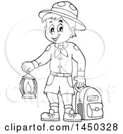 Clipart Graphic Of A Black And White Lineart Scout Boy Holding A Lantern And Backpack Royalty Free Vector Illustration