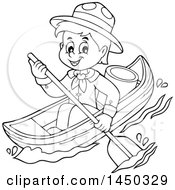 Clipart Graphic Of A Black And White Lineart Happy Scout Boy Rowing A Boat Royalty Free Vector Illustration