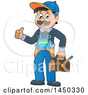 Clipart Graphic Of A Happy Male Plumber Holding A Tool Box And Giving A Thumb Up Royalty Free Vector Illustration