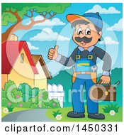 Happy Male Plumber Holding A Tool Box And Giving A Thumb Up Outdoors
