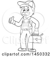 Black And White Lineart Happy Male Plumber Holding A Tool Box And Giving A Thumb Up