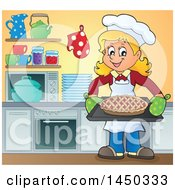 Clipart Graphic Of A Happy Woman Baking A Pie In A Kitchen Royalty Free Vector Illustration by visekart