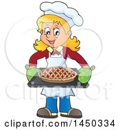 Clipart Graphic Of A Happy Woman Baking A Pie Royalty Free Vector Illustration