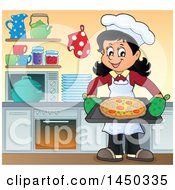 Clipart Graphic Of A Happy Woman Making A Pizza In A Kitchen Royalty Free Vector Illustration
