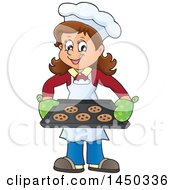 Clipart Graphic Of A Happy Woman Baking Chocolate Chip Cookies Royalty Free Vector Illustration