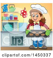 Clipart Graphic Of A Happy Woman Baking Chocolate Chip Cookies In A Kitchen Royalty Free Vector Illustration