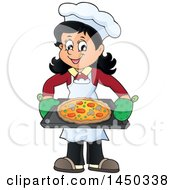 Happy Woman Making A Pizza